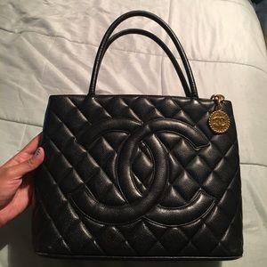 Authentic Chanel Caviar Medallion Tote Black